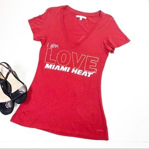 Peace Love World | Miami Heat Red Graphic T-shirt